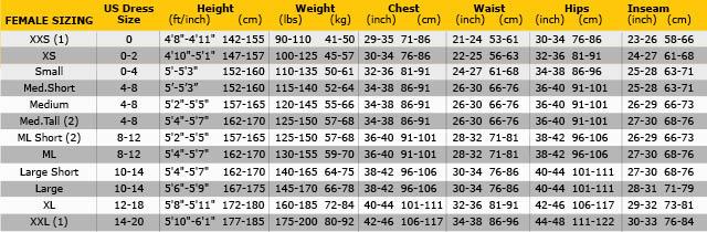 Pinnacle women size chart