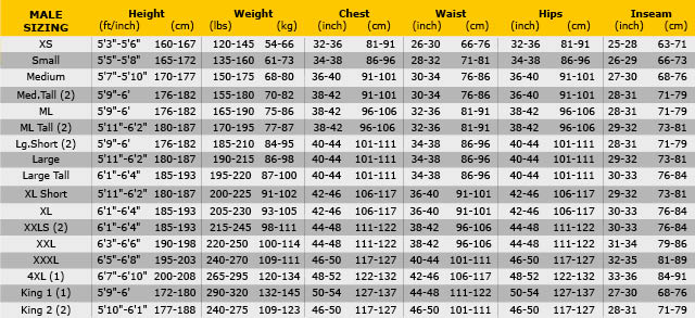 Pinnacle men size chart