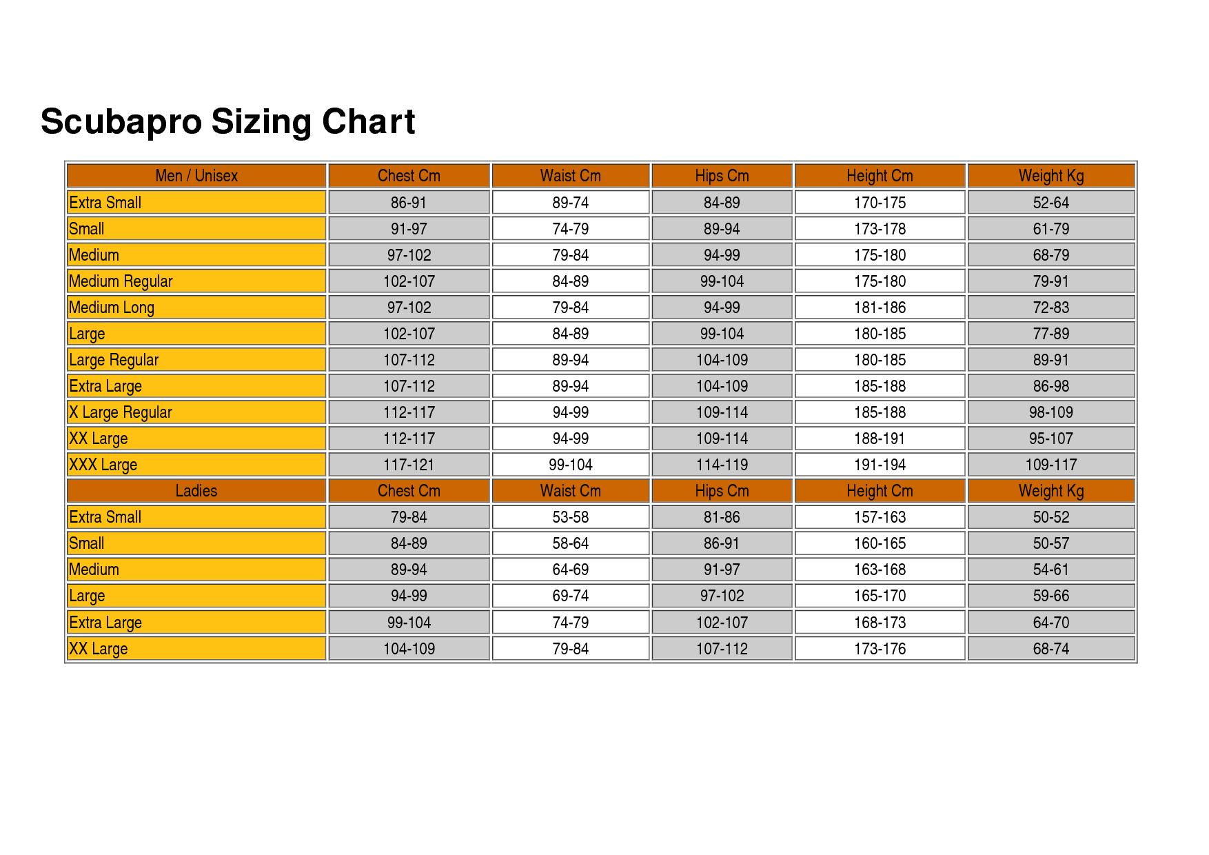 Scubapro size chart